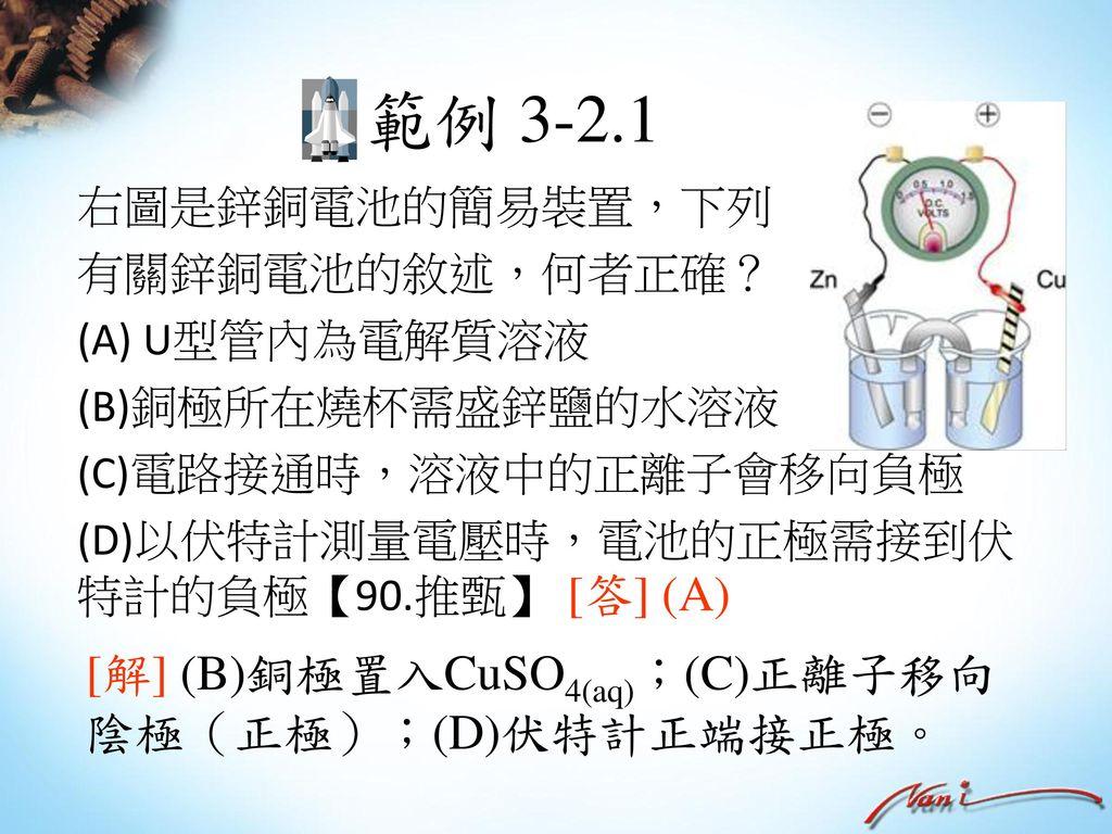 範例 3-2.1 [答] (A) [解] (B)銅極置入CuSO4(aq);(C)正離子移向陰極(正極);(D)伏特計正端接正極。